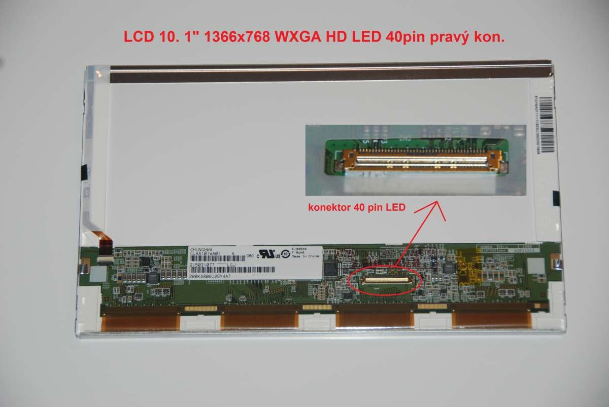 """CLAA101WA01 LCD 10.1"""" 1366x768 WXGA HD LED 40pin display displej Chunghwa"""