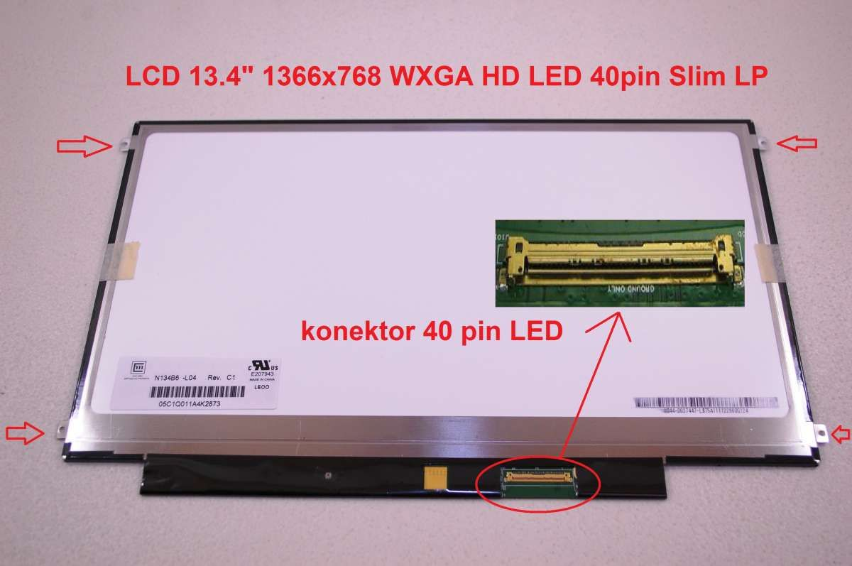 "N134B6-L03 LCD 13.4"" 1366x768 WXGA HD LED 40pin Slim LP display displej Chi Mei"