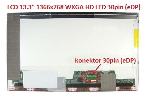 "LTN133AT17-102 LCD 13.3"" 1366x768 WXGA HD LED 30pin (eDP) display displej"